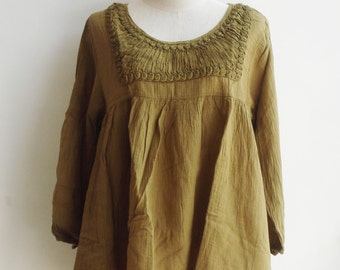 B10, Simply Classic Yellow Brown Cotton Blouse