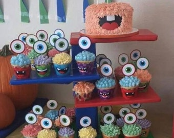 Custom Little Monster Birthday Party Cupcake toppers and cupcake wrappers - Instant Download
