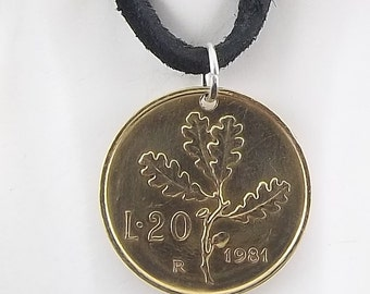 Italian Coin Necklace, 20 Lire, Coin Pendant, Leather Cord, Mens Necklace, Womens Necklace, 1981