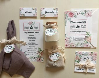 FLORAL stationery collection in full for your wedding (50 guests)