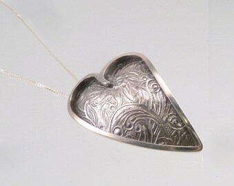 Sterling Silver Flowering Heart Pendant (small)