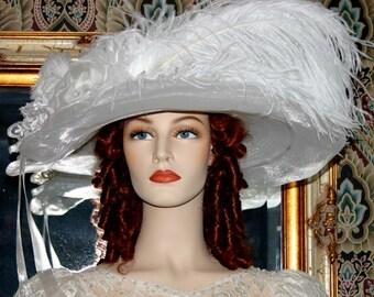Kentucky Derby Hat Ascot Edwardian Hat Titanic Hat Somewhere Time Hat Downton Abbey Hat Edwardian Women's White Hat Church - Lady Ophelia
