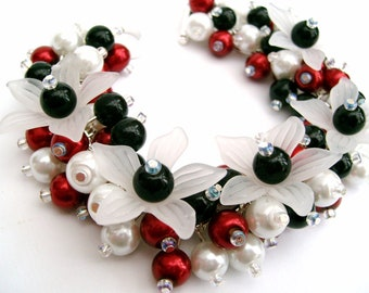 Red White and Black Pearl Bracelet with Flowers, Cluster Bracelet with Pearl Earrings, Beaded Bracelet, Chunky Bracelet, Floral Jewelry