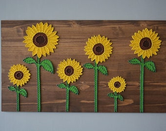 Sunflower Wall Decor Sunflower Wall Art String Art Sunflower Sunflowers  Painting Unique Sunflower Rustic Sunflower Sunflower Artwork