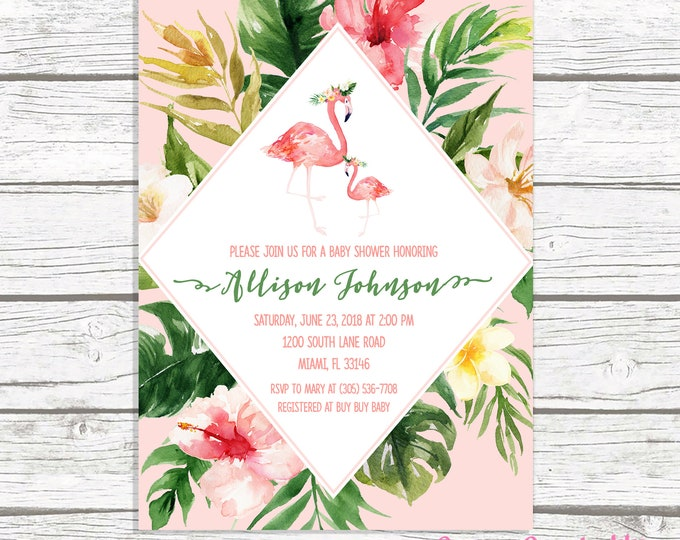 Flamingo Baby Shower Invitation Girl, Flamingo Invitation, Flamingle Baby Shower Invitation, Tropical Baby Shower Invite, Let's Flamingle