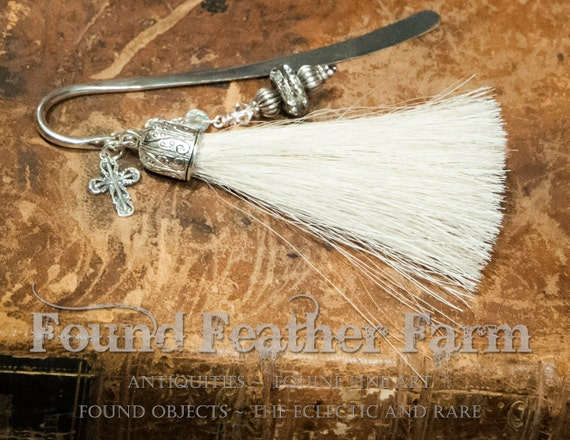 Handmade Horsehair Tassel Bookmark with Bali Silver Beads, Rhinestones, Glass Czech Beads and Jewels