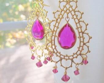 Bollywood Chandelier Earrings Bridal Morocco Hot Pink Lace Earrings by MinouBazaar