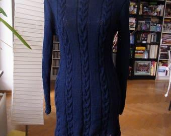 Classic Knit dress, dark-blue with braids, Gr. 36-38 (s), UK 10-12, US 8-10