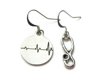 Nurse Earrings, Doctor Earrings, EKG ECG Earrings, Stethoscope Earrings, Nursing Student Earrings , Nurse Gift, Assymetrical Earrings