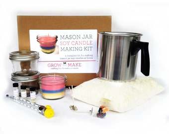 Deluxe DIY Large Mason Jar Soy Candle Making Kit - Learn how to make home made candles
