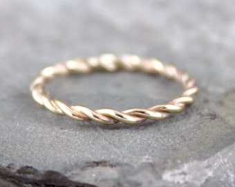 Yellow Gold Band - Twist Band - 14K Yellow Gold Ring - Stacking Ring - 14K Yellow Gold Wedding Band - Friendship Ring