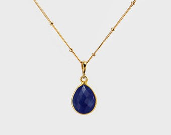 Lapis necklace - September Birthstone - lapis lazuli necklace - lapis pendant - bezel jewelry - satellite chain necklace - gemstone necklace