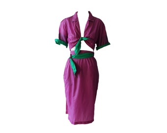 Vintage Thierry Mugler Green and Purple Parachute Wrap Dress 1980s
