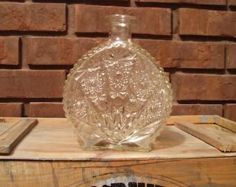 Etched Glass Decanter - Round - Antique Cut Glass - Art Deco