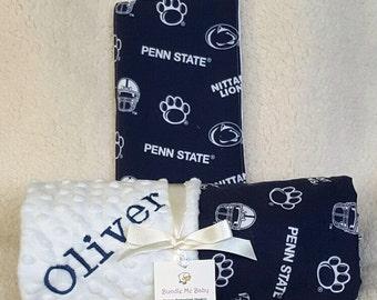 Penn State Baby Name Minky Blanket Football Basketball PERSONALIZED Alabama Arizona UCLA