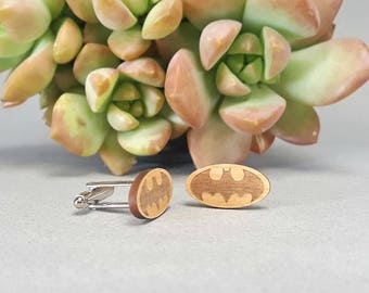 Batman Cuff Links - Laser Engraved Wood - Cufflink Pair - Bruce Wayne - Gotham City - DC Comics