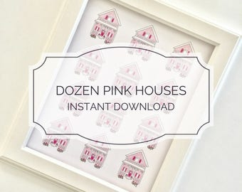 INSTANT DOWNLOAD Dozen Pink Houses Printable 8x10 / House Drawing, Millennial Pink, Blush Pink, Home Decor