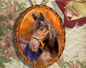 Bay Horse Quarter Horse Jewelry Pendant - Brooch Handcrafted Ceramic