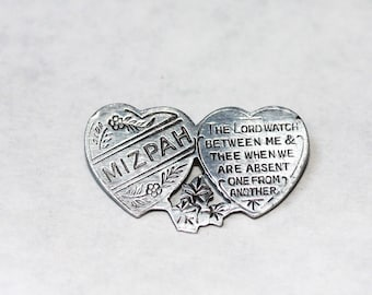 """Antique Silver Double HEART MIZPACH Brooch """"The Lord Watch Between Me & Thee"""" 6g"""