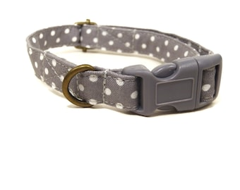 The Alistair - Light Gray White Polka Dot Organic Cotton CAT Collar Breakaway Safety - All Antique Metal Hardware