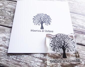 Custom Wedding Stamp / Tree Wedding Stationery / Name Stamp / Rubber Stamp
