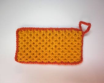 Tawashi / washable sponge - honeycomb - yellow / Orange dark - dark orange Ribbon