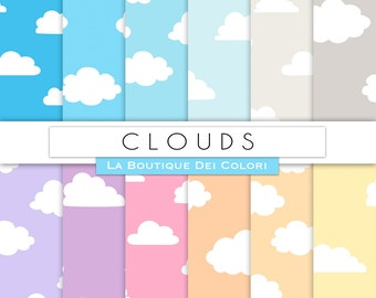 Cloudy Sky Digital Paper - Clouds, Sunset, Rain, blue, pink, gray, sun rise,sunny Scrapbook Papers Pack - Sky Seamless Backgrounds Patterns