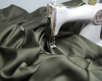Dark olive silk satin fabric by the meter Stretch olive slik by the yard Olive fabric for bouses and tunics