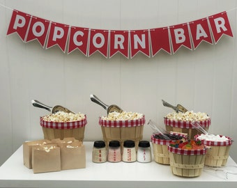 Popcorn Bar | Red & White Gingham | Party in a Box