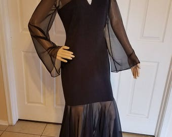 Vintage 1980's Lillie Rubin Designer Black Mermaid Bodycon Dress Sheer Chiffon Rhinestone Brooch