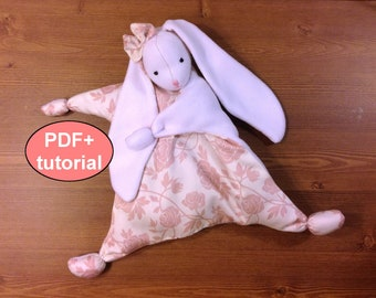 Bunny sewing pattern bunny plushie pattern softie PDF comforter baby first toy waldorf doll tutorial stuff toy pattern newborn first doll