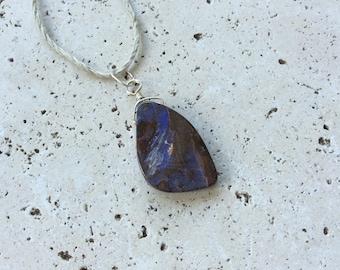 Natural Australian Boulder Opal Sterling Silver Pendant, Rare Genuine Opal Necklace, Healing Crystal, October Birthstone, Unisex, Indigo