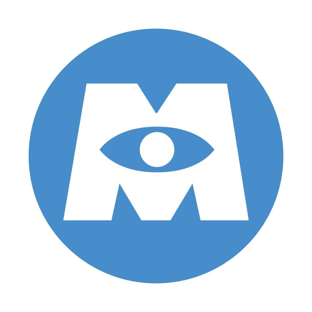 Pixar 39 s monsters inc blue monsters inc logo iron on for Pixar logo t shirt