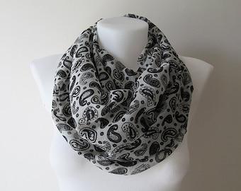 Black White Infinity Scarf, Crinkle Chiffon Scarf, Circle Scarf, Women Loop Scarf, Eternity scarf, Fall Winter Spring Summer Fashion