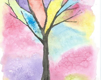 Watercolor Painting, Watercolour Tree Painting, ACEO Print, Abstract Painting, Mini Art Print Small Abstract Watercolor Print, ACEO Painting