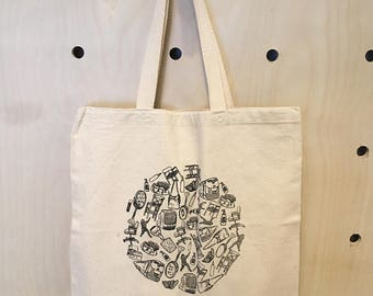 Doodle Tote Bag - Hand Pulled Screen Print