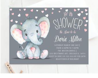 Elephant baby shower invitation umbrella elephant baby shower