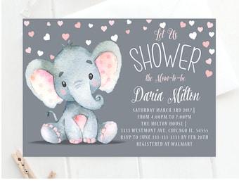Elephant baby shower invitation pink elephant baby shower elephant baby shower invitationelephant baby shower invitation cute elephant baby invite elephant filmwisefo