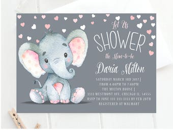 Elephant baby shower invitation,elephant baby shower invitation, cute elephant baby invite, elephant umbrella baby shower invite,elephant