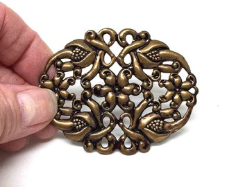 Antique Copper Plated Brass Filigree Oval. Filigree Connector. Pendant. Bracelet Component. 62mm X 50mm. One (1).