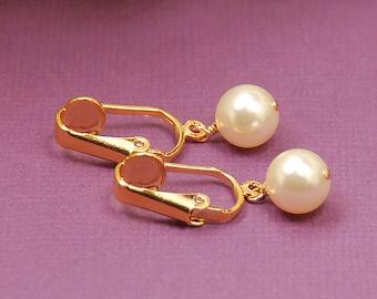 Swarovski Elements Pearl Clip On Earrings, Gold Clip On Pearl Earrings, Bridal Earring, Bridesmaid Earring, Wedding Jewelry, Clipon Earrings