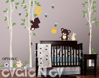 Baby Wall Decals - Bears, Honey Jar, Bee Hive, Bumble Bees, Large Trees and Bunnies for Children Playroom-  PLTBRS040