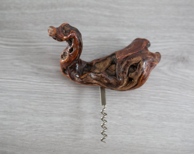 Driftwood Corkscrew Bottle Opener / Grapevine Burl Driftwood Corkscrew Wine Bottle Opener /Knotted Wood Rustic Woodsy Bar Cocktail Accessory
