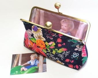 Floral Clutch, Personalised Purse, Kisslock Purse, Large, Custom Made, For Treasured Memories, Art Gallery Priory Square,