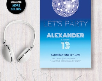 Let's party Birthday invitation Disco Party invite Genre neutral Modern invite Graduation Dance celebration Disco themed party teen dance