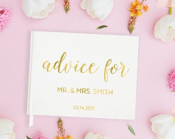Gold Foil Wedding Guest Book Wedding Advice Guest Book, Gold Guest Book Wedding Guest Book with Gold Wedding Guest Book Gold, 15 COLORS