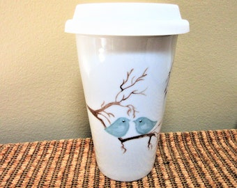 Mug Travel Love Birds Coffee Tea Porcelain Ceramic Pottery Hand Painted Kitchen Blm