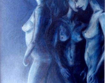 Painting Three Graces-acrylic paint original painting-nudes-three models in blue dim. 56 x 66 cm-Worldwide shipping