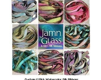 WATERCOLOR PICK 1 to 20 Color Hand Dyed Sewn Silk Ribbons Strings, Bulk Ribbon, Crinkle Silk Ribbons for Silk Bracelets or Necklaces