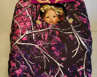 "Car Seat Cover Muddy Girl Camo Baby! n Purple Minky Lining Hand Made Infant Carrier Custom Embroider ""My Little Dear"" Antlers"